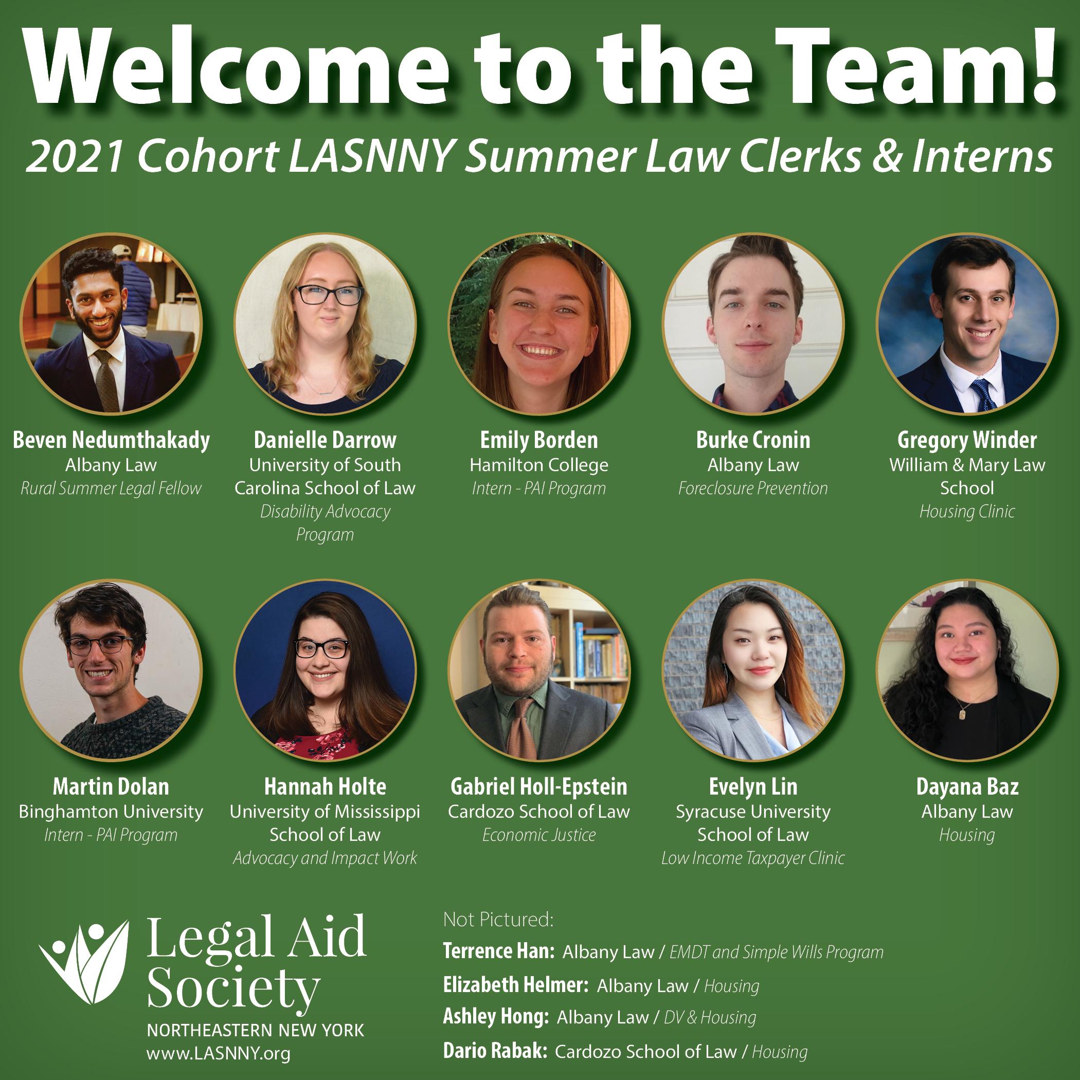 Summer 2021 Cohort of Law Clerks & Interns